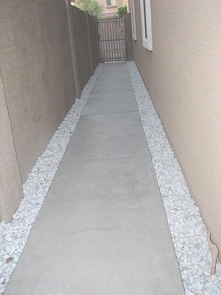 gravel alongside walkway