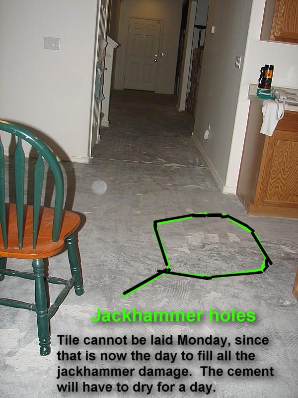 jackhammer divots in floor