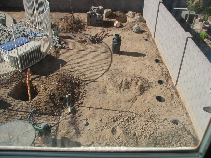 second-floor view of holes in backyard 4/25/2007